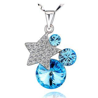 BELEC - White Gold Plated 925 Sterling Silver Star Pendant with Blue Cubic Zirconia and 45cm Necklace