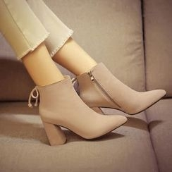 Pretty in Boots - Bow Accent Chunky Heel Ankle Boots