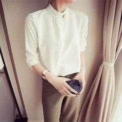 YOSH - Stand Collar Long Sleeve Chiffon Blouse