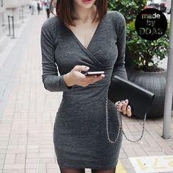 Seoul Fashion - Wrap-Front Long-Sleeve Bodycon Dress