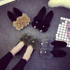 YIVIS - Fluffy Block Heel Short Boots