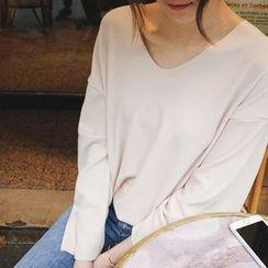 mimi&didi - V-Neck Drop-Soulder T-Shirt