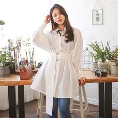 PPGIRL - Loose-Fit Shirt With Belt