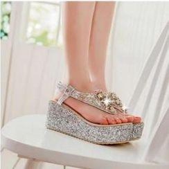 JY Shoes - Rhinestone Platform Thong Sandals