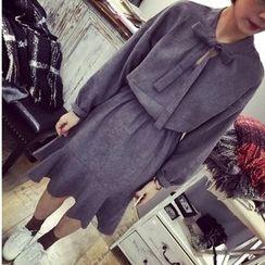 MATO - Ribbon-collar Ruffle Long-Sleeve Dress