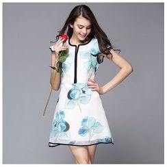 Elabo - Short-Sleeve Floral Dress