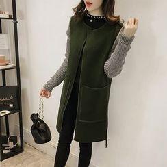 Little V - Knit Panel Long Woolen Coat