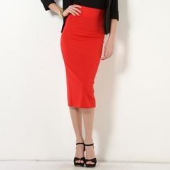 YesStyle Z - Slit-Back Maxi Skirt