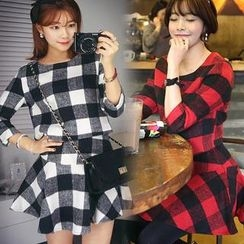 HOTPING - Set: Gingham-Check Top + A-Line Skirt
