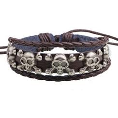 KINNO - Skull Multi-Strand Genuine Leather Bracelet