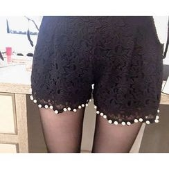 Marlangrouge - Faux-Pearl Detail Lace Shorts