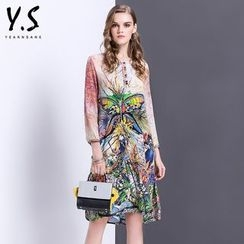 Y:Q - Butterfly Print 3/4-Sleeve Shift Dress