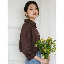 FROMBEGINNING - Plain Linen Shirt