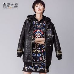 Cloudwood - Embroidered Faux Leather Hooded Long Jacket