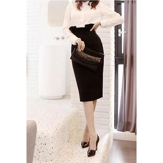 LOVEMARSH - High-Waist Pencil Skirt