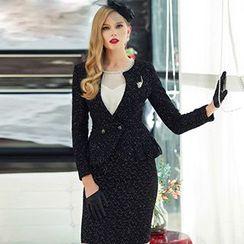 艾尚臣 - 荷葉腰印花西裝 / 襯衫 / 鉛筆裙