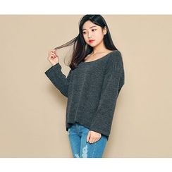 HOTPING - Scoop-Neck Loose-Fit Knit Top