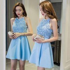 Maine - Sleeveless Beaded Neckline Lace Panel A-line Dress