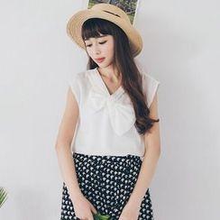 Tokyo Fashion - Bow V-Neck Sleeveless Top