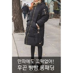 migunstyle - Hooded Padded Long Coat