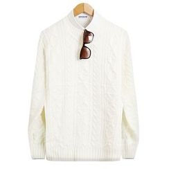 Seoul Homme - Colored Round-Neck Knit Top