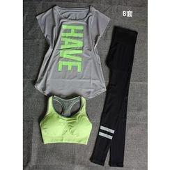 GYM QUEEN - Set: Sports Bra + Quick Dry T-Shirt + Pants