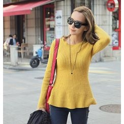 REDOPIN - Rib-Knit A-Line Sweater