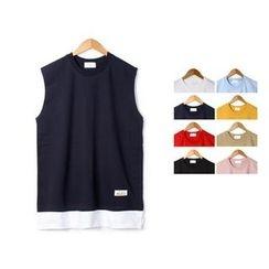 Seoul Homme - Round-Neck Sleeveless Contrast-Hem Top