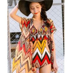 Jumei - Set: Chevron Swimsuit + Cover-Up