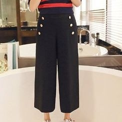 Romantica - Buttoned Wide-Leg Cropped Pants