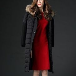 Mythmax - Furry-Trim Hooded Paneled Padded Coat