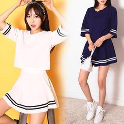 HOTPING - Set: Striped Crop Top + Skirt