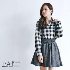 BAIMOMO - Check Suspender Skirt