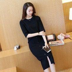 Romantica - Set: Elbow-Sleeve Knit Top + Buttoned Knit Skirt