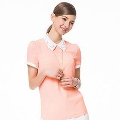 O.SA - Perforated-Collar Chiffon Blouse