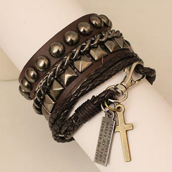Free Shop - Set: Studded Bracelets + Cross Charm Bracelet