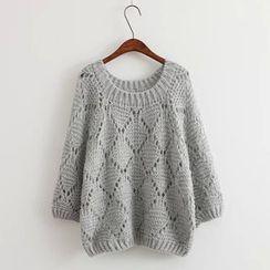 Rocho - Plain Open Knit Sweater