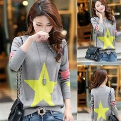 Crista - Star-Patterned Knit Top