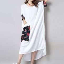 Diosa - Floral Panel Loose-fit Dress
