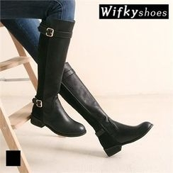 Wifky - Buckled Flat Tall Boots