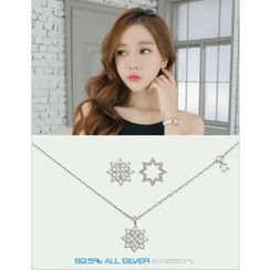 soo n soo - Set: Rhinestone Silver Stud Earrings + Necklace
