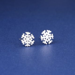 Zundiao - Sterling Silver Perforated Snowflake Studs