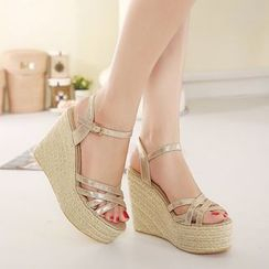Monde - Strappy Espadrille Wedge Sandals