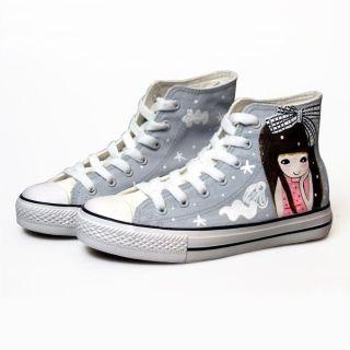 HVBAO - High-Top Printed Canvas Sneakers