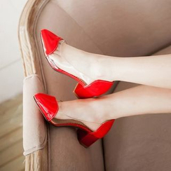 Pangmama - Block Heel Pointy Pumps