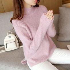 Ageha - Mock-neck Knit Top