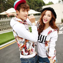 Evolu Fashion - Couple Matching Print Baseball Jacket