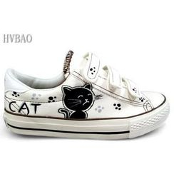 HVBAO - Cat Print Velcro Canvas Sneakers