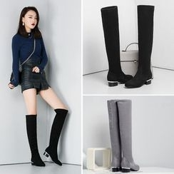 Shoes Galore - Block Heel Over-the-Knee Boots
