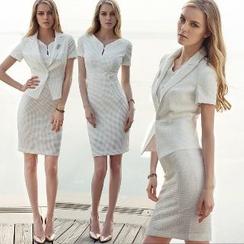 Aision - Short-Sleeve Sheath Dress / Jacket
